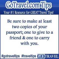 Be sure to make at least two copies of your passport; one to give to a friend & one to carry with you. #Travel #TravelTips
