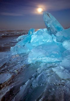 Russia, Lake Baikal, Ice & Moon