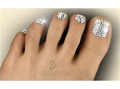 Swarovski Crystal Pedicure.. someone send me some crystals! I want to bling my hands and feet out!! lol