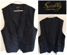 Mens Scully Western Cowboy Formal Black Paisley Vest Mens Size XL Tall XLT #Scully #western