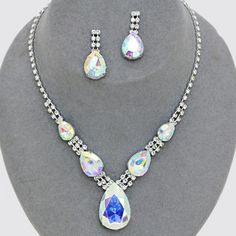 Aurora Borealis diamante crystal teardrop necklace set