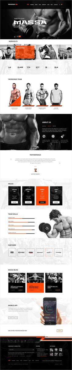Massa is a modern #PSD theme designed mainly for Sport #Clubs, Health Clubs, #Gyms, #Fitness Centers, Personal Trainers website download now➩ https://themeforest.net/item/massa-fitnessgymsports-blog-psd-template/17311468?ref=Datasata