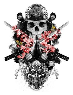 Mixed design of a praying skull samurai, flowers and a fu-dog
