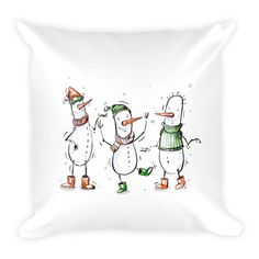 Pillow x Three Snowmen on White Background Couch Decor Stuffed Washable Removable Cover With Hidden Zipper. Snowmen, Decorative Pillows, Snoopy, Couch, Trending Outfits, Handmade Gifts, Fictional Characters, Etsy, Vintage