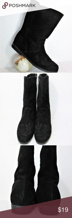 """Mid Calf Suede Embroidered Booties Black on black embroidery over instep/toebox. Full zip on inner side, round toe. Comfortable, dress up or down.  14"""" circumference. 9"""" shaft Jack Sprat Shoes Ankle Boots & Booties"""