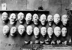 World War I Masks by Anna Coleman Ladd, 1918  The top row are casts taken from soldiers mutilated faces, the bottom row shows masks of their faces before their injuries, made from pre-war photographs. On the table are masks made to fit over the disfigured part of the face. [ftp]