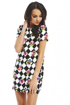 CHECKERED FLORAL SMOCK DRESS