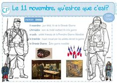 Le 11 novembre, qu'est-ce que c'est? Core French, French Class, Apple School, Holiday Cartoon, Cycle 3, Remembrance Day, Voici, Long Holiday, Positivity