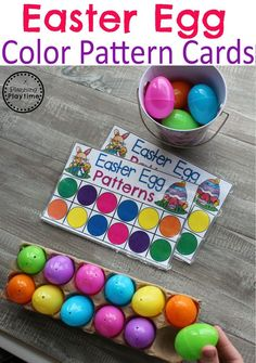 Easter-Egg-Color-Pattern-Cards-for-Preschool. crafts for preschoolers Easter Theme - Preschool - Planning Playtime Easter Activities For Kids, Spring Activities, Easter Crafts For Kids, Toddler Activities, Easter Crafts For Preschoolers, Math Games For Preschoolers, Bunny Crafts, Easter Art, Easter Decor