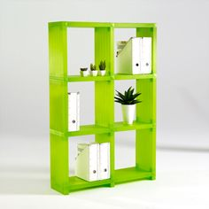 Cubitec Modular Plastic Shelves In Lime Green