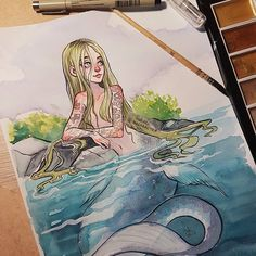 I didn't gave up with #mermay2017!  today I tried watercolors after a long break