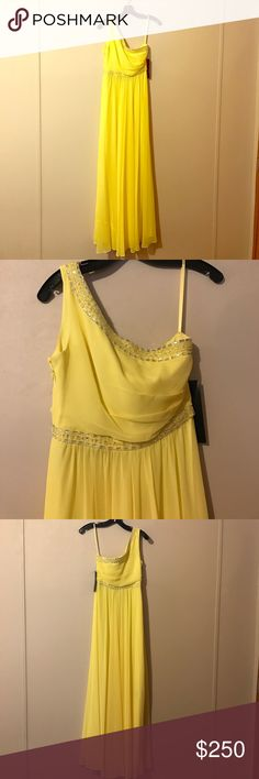 BCBG Danielle Gown Brand new with the tags, a gorgeous, Canary BCBG Gown. Perfect for a night out on the town! BCBGMaxAzria Dresses One Shoulder