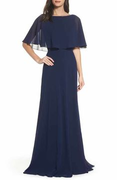 Navy La Femme Popover Chiffon Gown cape flutter sleeve mother of the bride mother of the groom dress Bridesmaids Gowns With Sleeves, Formal Gowns With Sleeves, Formal Dresses For Women, Dress Outfits, Fashion Dresses, Mother Of The Bride Dresses Long, Moda Vintage, Mob Dresses, Chiffon Gown