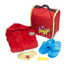 This Wonder Woman Spa Set lets you make your own super spa day. The convenient tote is packed with a robe, slippers, a satin eye mask, and toe separators, all with a Wonder Woman theme. Super Spa, Wonder Woman Party, Great Gifts For Girlfriend, Geek Gifts, Girls Accessories, Me Time, Girls Night Out, Inspirational Gifts, Troy