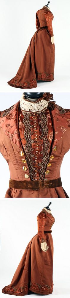 Dress ca. 1890s. Copper-brown brocaded satin bodice, waistcoat, and skirt with copper- and brass-beaded trim and glass buttons. Kerry Taylor Auctions
