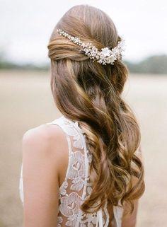 simple wedding half up half down hairstyle