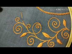 Hand embroidery   neck design for kurthi    Sireesha channel - YouTube Embroidery Neck Designs, Hand Embroidery Videos, Embroidery Stitches Tutorial, Embroidery Bags, Embroidery Flowers Pattern, Beaded Embroidery, Fabric Flower Brooch, Fabric Flowers, Dress Neck Designs