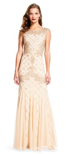 Adrianna Papell | Fully Beaded Sleeveless Godet Gown