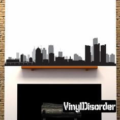 Detroit Michigan Skyline Vinyl Wall Decal or Car Sticker SS091
