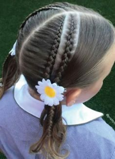How to Style Little Girl's Braids with Beads. You can use beads over the head along the length of the braid or only at the tail of the braid. Little Girl Hairdos, Girls Hairdos, Little Girl Braids, Cute Girls Hairstyles, Teenage Hairstyles, Long Hair Designs, Cute Braided Hairstyles, Braided Pigtails, Braids With Beads