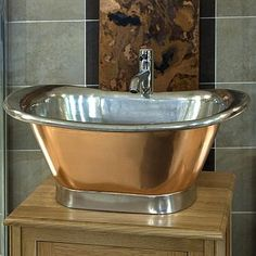 Copper Basin with Tin Inner and Plinth Persian by Copper Dragon at Boundary Bathrooms