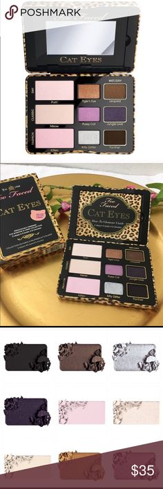 💋TOO FACED Cat Eyes 💯palette wet/dry 💋 Too faced eye shadow or eyeliner wet or dry authentic palette ! I love love this palette the colors on right can be used with water and brush as eyeliner too ! New with box and I send gifts 👍🏼💋💋💋💋 Too Faced Makeup Eyeshadow