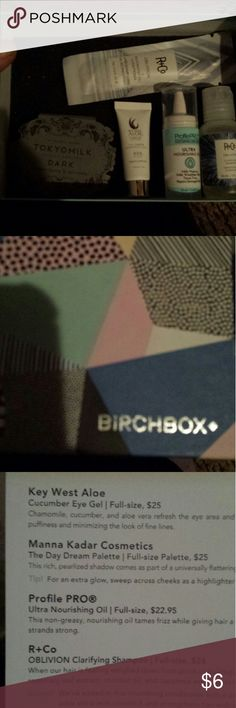 August's Birch box all brand new items August's Birch box items yes the entire 10.00 box for 6.00 regular price is 10.00 just not any items I use or want my loss your gain birch box Makeup