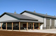 Metal Shop Building Images and Pics of Metal Buildings Rent To Own. Metal Shop Houses, Metal Shop Building, Building A Pole Barn, Steel Building Homes, Pole Barn House Plans, Shop House Plans, Building A Shed, Building Ideas, Barn Houses