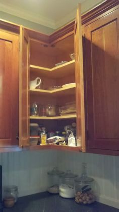 Corner Cabinet heaven - no more reaching behind trying to find the things in the hidden space!