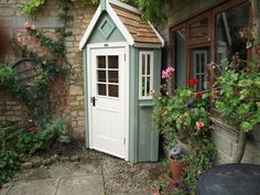 bespoke corner potting shed with two tone paint Garden Tool Shed, Garden Storage Shed, Storage Sheds, Small Storage, Garden Buildings, Garden Structures, Posh Sheds, Painted Shed, Car Shed