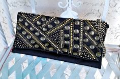 Clutch purse, fold over wrist bag, embellished clutch, boho purse, metal beaded clutch , Indian clutch purse.