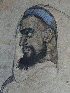 CHASSERIAU Théodore,1846 - Arabe barbu et autres Figures - drawing - Détail 20