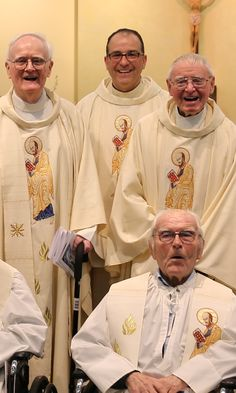 Paulist Fr. William Cantwell (front) on May 3, 2016, after the Mass celebrating the 60th anniversary of his ordination to the priesthood on May 3, 1956.  Behind Fr. Cantwell is (right to left): Paulist Fr. James McQuade, Paulist Fr. Eric Andrews and Paulist Fr. Kevin Devine.  (Fr. McQuade and Fr. Devine were ordained the same day as Fr. Cantwell.)