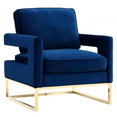 Modern Navy Blue Velvet Gold Legs Lounge Chair