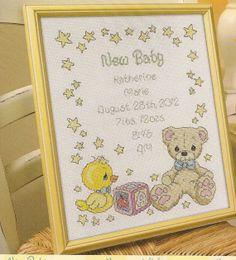 New Baby Birth Record Cross Stitch Kit by needlecraftsupershop, $21.99
