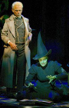 Joel Grey (Wizard) and Idina Menzel (Elphaba) in the original Broadway production.
