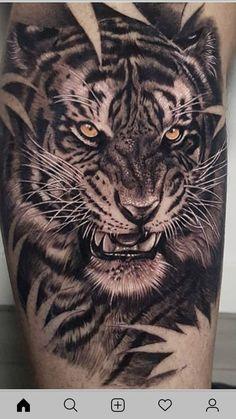 Tiger Head Tattoo, Tiger Tattoo Sleeve, Lion Tattoo Sleeves, Tattoo Sleeve Designs, Cat Tattoo, Tattoo Designs Men, Sleeve Tattoos, Mens Tiger Tattoo, Tattoo Ink