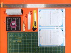 Material para fazer um bloco com encadernação manual, através da costura japonesa. Passo-a-passo completo no blog.