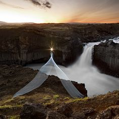 Cenci Goepel and Jens Warnecke travel around the world, turning night into day.With flashlights and torches, the photographers set their Lightpaintings in unusual landscapes. The Aldeyjarfoss waterfall is situated in the north of Iceland at the northern part of the Sprengisandur Highland Road which means it is to be found within theHighlands of Iceland. One of the most interesting features of the waterfall is the contrast between the black basalt columns and the white waters of the fall.