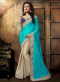 Sky Blue Cream Coading Embroidery Work Lycra Party Wear Half Sarees