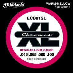 D'Addario ECB81SL Chromes Bass Guitar Strings, Light, 45-100, Super Long Scale by D'Addario. $30.99. From the Manufacturer                ECB81SL, the super long version of D'Addario's best-selling Flatwound bass strings, are known for their warm, mellow tone and smooth polished feel. Chromes deliver a deep, rich low bottom end which makes them the flat wound choice of Jazz, R and Pop musicians. Fits super long scale basses with a string scale length of up to 38 inches. D'Addar...