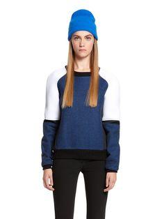 Herringbone Wool Runway Longsleeve Pullover With Neoprene Inserts And Knit Rib Trim Read More