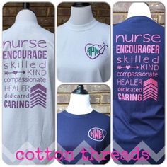 Monogrammed Nurse Long Sleeve T-shirt by CottonThreadsShirtCO- Perfect for the Nurse in your life!!
