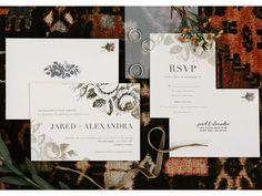 Moody dark academia wedding invitation suite with black rose motifs