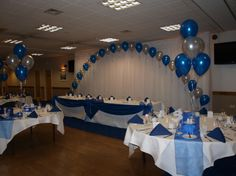 Blue and Pearl wedding balloon arch and clusters wedding table