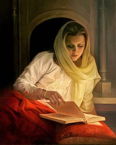 """Fakhraddin Mokhberi (Iranian, born 1965) – Reading pleasure – – """"For one who reads, there is no limit to the number of lives that may be lived, for fiction, biography, and history offer an inexhaustible number of lives in many parts of the world, in all periods of time."""" – Louis L'Amour"""