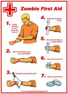 Zombie first aid - still not 100%.  Keep the machete handy.