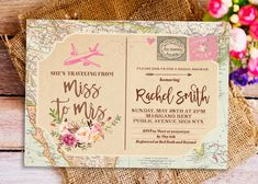 traveling from miss to mrs invitation, Miss to Mrs Bridal Shower Invitation, postcard invitation, travel themed bridal shower invitation by HappyPartyStudio on Etsy https://www.etsy.com/listing/507408799/traveling-from-miss-to-mrs-invitation