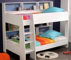 Latitude Single Bunk Bed - White - Bunk Beds - Kids Bedroom - Kids Furniture - bookcase behind bed Cheap Bunk Beds, Bunk Beds With Storage, Bunk Beds With Stairs, Cool Bunk Beds, Kids Bunk Beds, Bed Storage, Loft Beds, King Single Bunk Beds, Bunk Bed King
