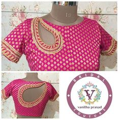 Paisley front and back blouse Saree Blouse Neck Designs, Fancy Blouse Designs, Saree Blouse Patterns, Stylish Blouse Design, Blouse Models, Sleeve Designs, Mode Style, At Least, Blue Blouse